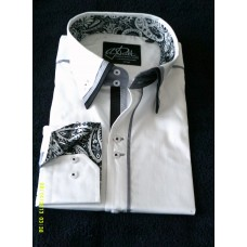White Shirt with Black and White Triple Collar and Black and White Paisley Trim