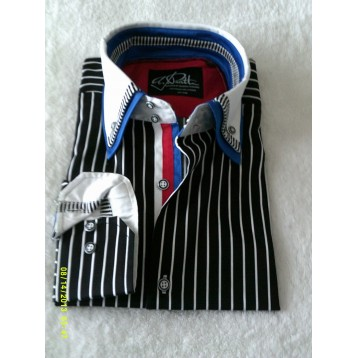 Black and White Striped Shirt with White and Blue Double Collar and Black and White Striped Trim