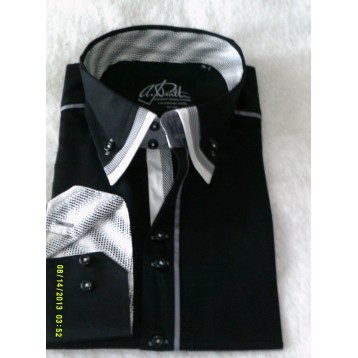Black Shirt with Black, White and Black and White Print Triple Collar and Black and White Trim