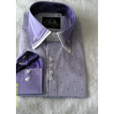 Purple and White Striped Print Shirt with White, Purple and White and Purple Print Triple Collar