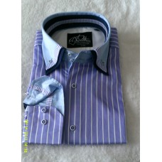 Purple Striped Shirt with Purple, Navy Blue and Purple Striped Print Triple Collar