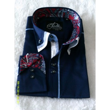 Navy Blue Shirt with Baby Blue Print and White Triple Collar and Red, Navy and White Paisley Trim