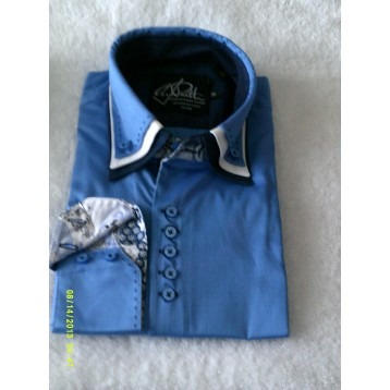 Baby Blue Shirt with Baby Blue, White and Navy Blue Triple Collar and Blues Paisley Trim
