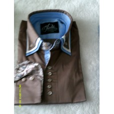 Brown Shirt with Brown, White and Baby Blue Triple Collar and Baby Blue and Brown Paisley Trim
