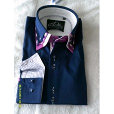 Navy Blue Shirt with Purple and Purple Print Triple Collar