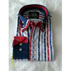 Blues and Red Striped Print Shirt with Navy Blue, Red and Striped Print Triple Collar