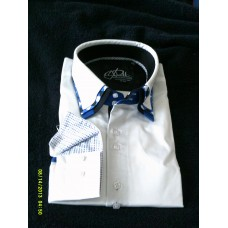 White Shirt with Blue, Black and White Print Triple Collar