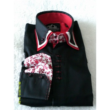 Black Shirt with Red and White Paisley Triple Collar
