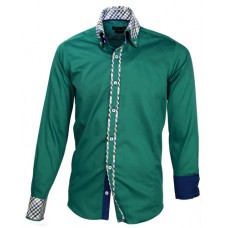 Green Shirt with Blue Plaid Double Collar