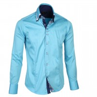 Solid Turquoise Triple Collar with Blue Paisley Trim, 800 Thread Count, Satin Egyptian Cotton Shirt