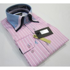 Pastel Pink & White Striped Shirt with Baby Blue, Pink Striped and Black Triple Collar
