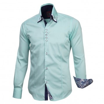 Aqua Triple Collar with Navy Paisley Trim, 800 Thread Count, Satin Egyptian Cotton Shirt