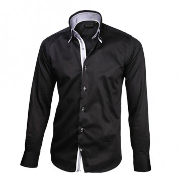 Black Sateen Shirt With Black & White Double Collar
