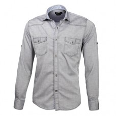 Gray Double Pocket Oxford Shirt