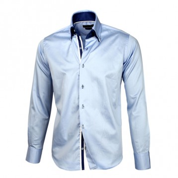Pastel Blue Sateen Shirt With Pastel Blue & Blue Double Collar