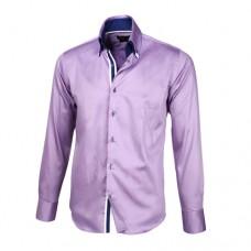 Light Purple Sateen Shirt With Navy Blue & Light Purple Double Collar