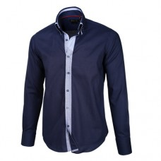 Navy Blue Sateen Shirt With Navy Blue & Plaid Double Collar