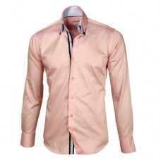 Light Pink Sateen Shirt With Gray & Light Pink Double Collar