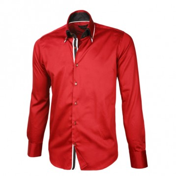 Red Shirt With Black, Red & White Double Collar