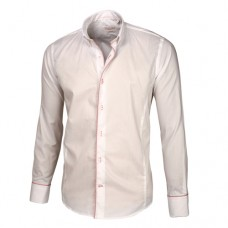 White Shirt with Pink Trim Button Down Shirt