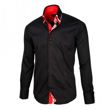 Black Shirt with Red and White Triple Collar
