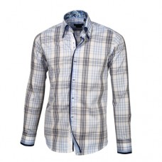 Blue, Brown & White Plaid Shirt