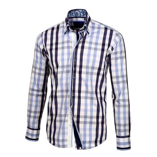 Baby blue navy blue white plaid shirt for Navy blue plaid shirt