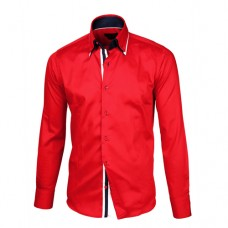 Red Shirt With Navy Blue, White & Red Double Collar