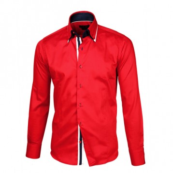 Red Shirt with Red, White & Blue Triple Collar