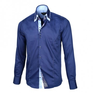 Blue Shirt with Baby Blue & White Triple Collar