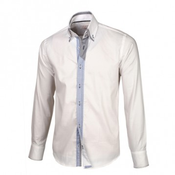 White with Blue Trim Shirt With Black Plaid & White Double Collar