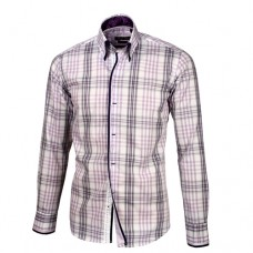 Pink, Black & White Plaid Shirt with Black, white & Pink Plaid Double Collar