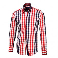 Red, White & Blue Striped Shirt With Red & Blue Double Collar