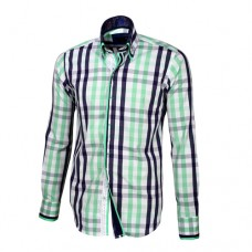 Blue, White & Pastel Green Plaid Shirt With Pastel Green, Black & White Double Collar