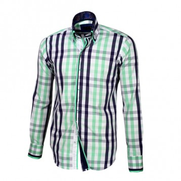Blue, White & Pastel Green Plaid Shirt With Pastel Green, Black & White Double Collar