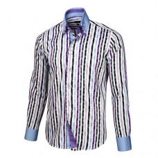 Purple, White & Black Striped Shirt With Baby Blue & Purple Double Collar