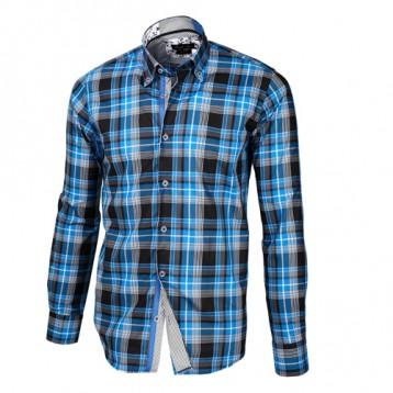 Baby Blue, Black & White Plaid Shirt