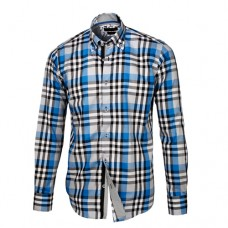 Blue, Black & White Plaid Shirt