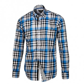 Blue, Black & White Plaid Shirt