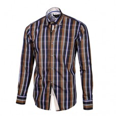 Brown, Gray, Blue & White Plaid Shirt