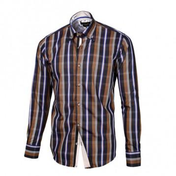 Brown, Gray, Blue & White Plaid Shirt