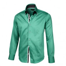 Emerald Green Sateen Shirt With Black & White Double Collar