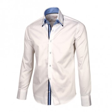 White Sateen Shirt With Baby Blue & White Double Collar