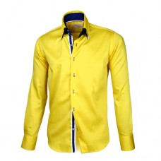 Yellow Shirt With Blue & White Double Collar
