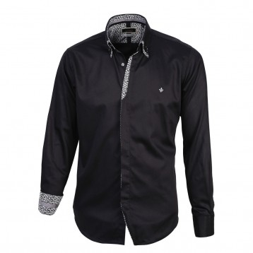 Black Double Collar with White Paisley Trim, 800 Thread Count, Satin Egyptian Cotton Shirt