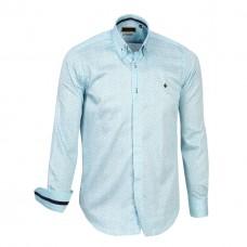Turquoise Print Double Collar, 800 Thread Count, Satin Egyptian Cotton Shirt
